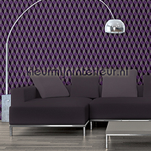 behang modern Optic illusion purple