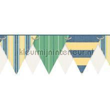 behangranden jongenskamer Stripes pennant border green
