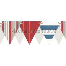 behangranden jongenskamer Stripes pennant border red