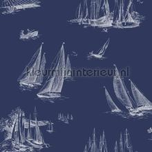behangranden jongenskamer Sailboat toile blue
