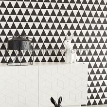 behang zwart-wit Driehoekjes behang zwart wit
