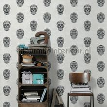 behang zwart-wit Sugar skulls