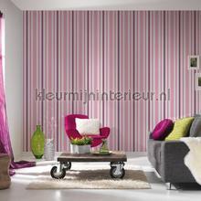 behang strepen Relief strepen roze paars