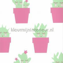 kinderkamer kinderbehang jongens behang Cactus roze mint