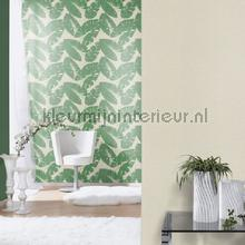 retro behang Gebladerte groen