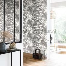 behang zwart-wit tropical world