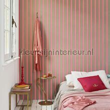 behang strepen Blurred lines khaki roze