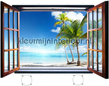 Paradise beach through open window