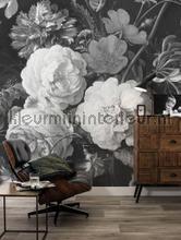 behang zwart-wit golden age flowers