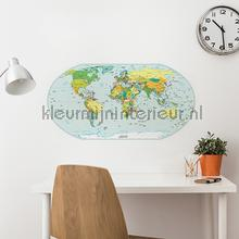 interieursticker Wereldkaart Muursticker Kleur