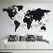 interieursticker Wereldkaart Muursticker Zwart XXL