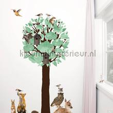 interieursticker kinderkamer forest friends tree xl lichtgroen
