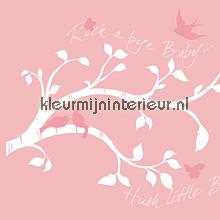 Witte tak met roze vogels sticker autocolantes decoracao York Wallcoverings Beb�s Crian�as