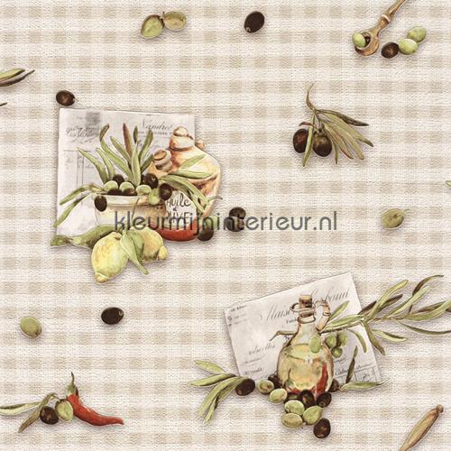 Vinyl Behang Keuken : Olijven op theedoek 854817 behang Aqua Relief IV van Rasch