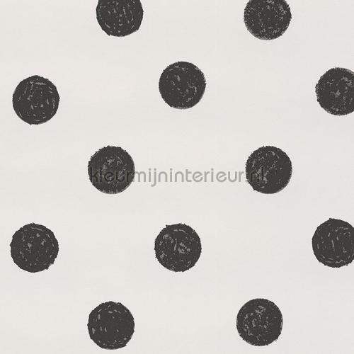 Wit behang met zwarte stippen 356060 behang black and light van eijffinger - Zwart witte tiener slaapkamer ...
