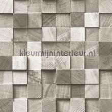Kops houten balkjes warm grijs papel de parede Esta home madeira