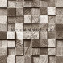 Kops houten balkjes grijsbruin papel de parede Esta home madeira