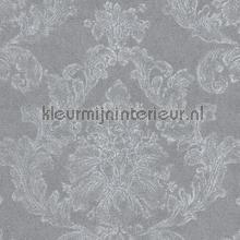 Zacht klassiek ornament linnenlook grijs papel pintado AS Creation barroco