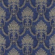 Floral bouquet damask royal blue papel pintado Rasch barroco