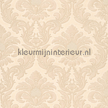 Traditional damask pink-beige papel pintado Rasch barroco