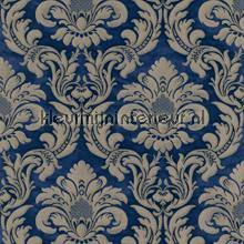 Traditional damask royal blue papel pintado Rasch barroco