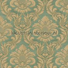 Traditional damask green papel pintado Rasch barroco