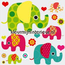 Olifanten stickerset autocolantes decoracao Kleurmijninterieur Beb�s Crian�as