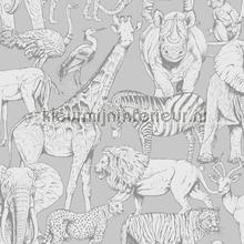 kinderkamer kinderbehang jongens behang Jungle Animals Grey